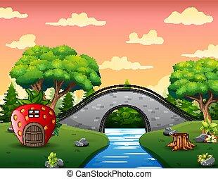 paesaggio, natura, illustrazione, casa, fragola, costruire ponte arco, fondo