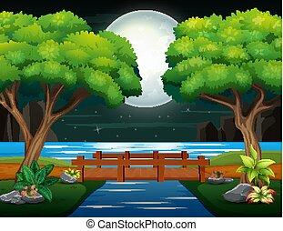 paesaggio, ponte legno, notte, attraverso, fiume