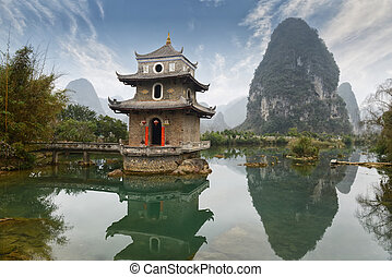 paesaggio, porcellana, guilin, yangshuo