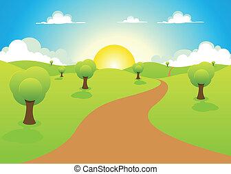 paesaggio, primavera, cartone animato, estate, o