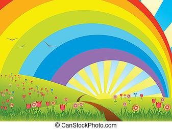 paesaggio rurale, arcobaleno