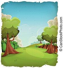 paesaggio rurale, cartone animato, fondo