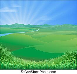 paesaggio rurale, illustrazione