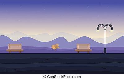 paesaggio, silhouette, collina, fondo