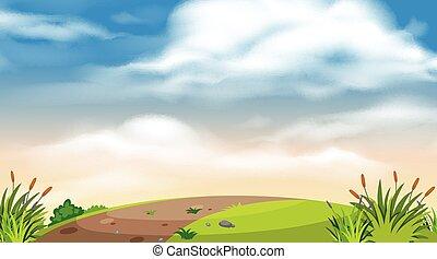 paesaggio, strada, collina, disegno, fondo