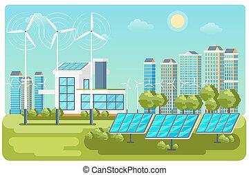 paesaggio, vettore, energia, urbano, verde