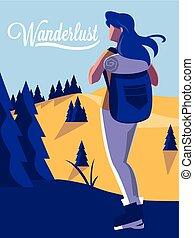 paesaggio, wanderlust, scena, viaggiatore, foresta