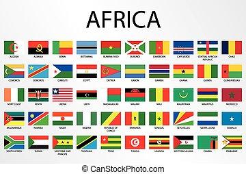 paese, alfabetico, africa, bandiere, continente