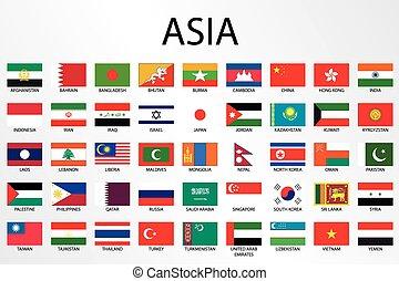 paese, alfabetico, bandiere, continente, asia