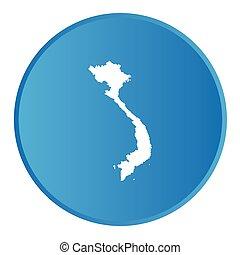 paese, bottone, vietnam, contorno, 3d