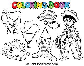 paese, libro colorante, collezione