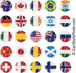 paese, stile, grunge, bandiera, icone