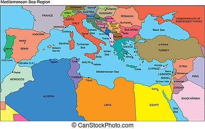paesi mediterranei, nomi, regione