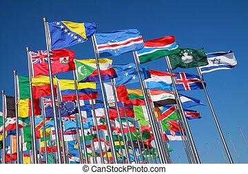 paesi, mondo, bandiere, intorno