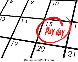 pagare, calendario, parola, giorno
