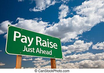 pagare, verde, aumento, segno strada