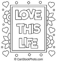 page., coloritura, amore, illustration., questo, vettore, life.