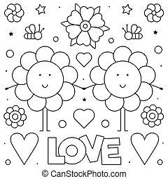 page., coloritura, illustration., love., vettore, nero, bianco