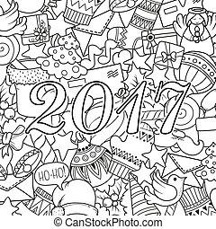 page., coloritura, set, testo, cartoline auguri, libro, templates., allegro, modello, monocromatico, vacanza, natale, natale