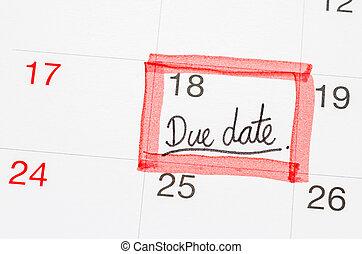 page., testo, data calendario, dovuto