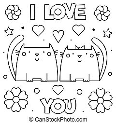 page., you., coloritura, amore, illustration., vettore, nero, bianco