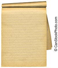 pages., vecchio, sopra, vuoto, quaderno, stracciato, bianco
