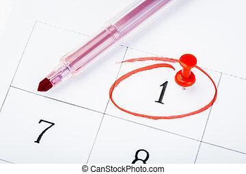 pagina, 2020, data, marcato, calendario, rosso, marker., importante