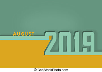 pagina, agosto, congratulazioni, mese, sagoma, anno, nuovo, calendario, 2019., presentazione, o