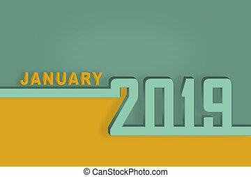 pagina, gennaio, congratulazioni, mese, sagoma, anno, nuovo, calendario, 2019., presentazione, o