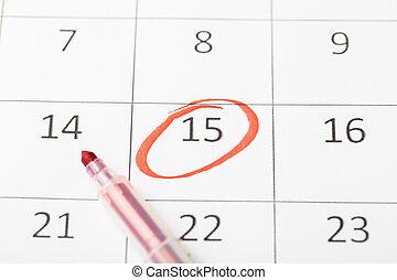 pagina, importante, calendario, rosso, 2020, marker., marcato, data