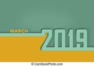 pagina, marzo, congratulazioni, mese, sagoma, anno, nuovo, calendario, 2019., presentazione, o