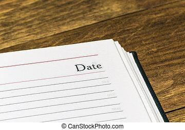 pagina, parola, primo piano, data, calendario, aperto
