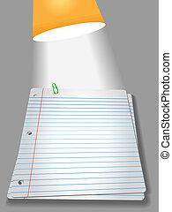 pagine, lampada, clip, carta, quaderno