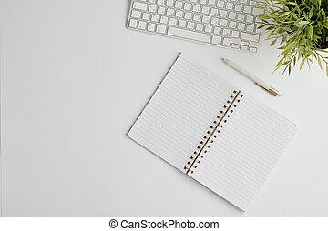 pagine, vuoto, aperto, pianta, computer, tastiera, disposizione, appartamento, penna, quaderno