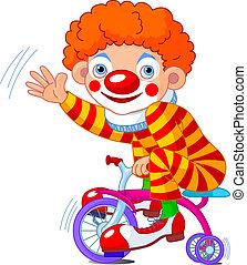 pagliaccio, bicicletta, tre-wheeled
