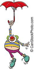 pagliaccio, illustrazione, cartone animato, ombrello, circo