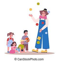 pagliaccio, osservare, vettore, illustrazione, bambino, juggling., bambini, compleanno, festa.