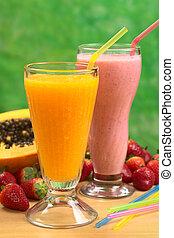 paglie, papaia, succo, paglia, fuoco, fragola, fuoco, juice), milkshake, (selective