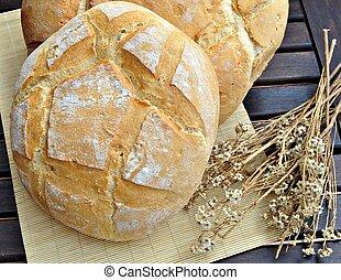 pagnotta, bread, lato, rotondo