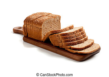 pagnotta, frumento, legno, affettato, tagliere, pane bianco