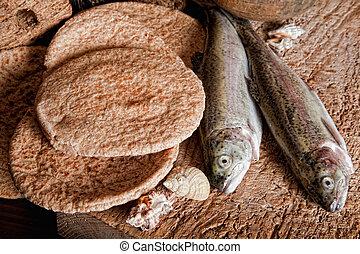 pagnotte, fish, cinque, due, bread