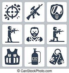 paintball, vettore, set, icone
