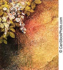 painting., fiore, foglia, dipinto, astratto, parete, giallo, mano, acquarello, struttura, fondo, bianco, grunge, fiori, edera, rosso