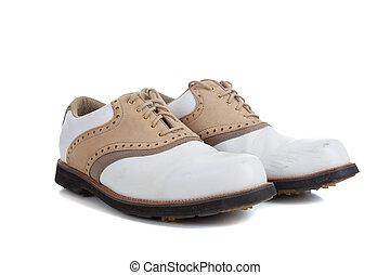 paio, bianco, scarpe golf, fondo