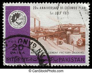 pakistan, francobollo, stampato