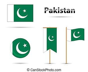 pakistan, set, bandiere