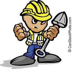 pala, immagine, lavoratore, faccia, vettore, hardhat, costruzione, determinato, cartone animato