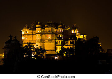 palace città udaipur, notte