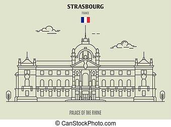 palazzo, france., reno, strasburgo, punto di riferimento, icona