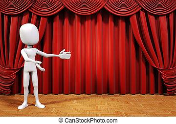 palcoscenico, 3d, uomo